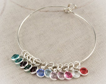 Mother or Grandmother Charm Bangle Bracelet in Sterling Silver with Birthstones