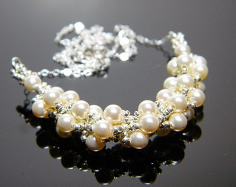 """Wedding Finery Cream Swarovski Crystal Pearl and Galvanized Silver Necklace Beadweaving Sterling Silver -  """"Aria"""""""