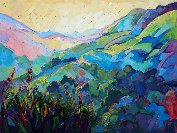 "California Impressionism Landscape in Color Original Oil Painting by Erin Hanson 40"" x 30"""