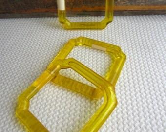 Vintage Lucite Golden Yellow Craft Macrame Handle Supplies