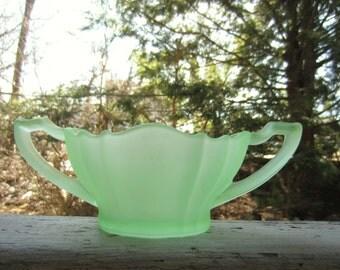 Vintage Frosted Green Glass Handled Bowl Sugar Bowl Vase