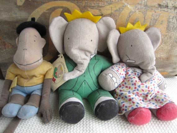 Vintage 1989 Babar Celeste And Zephir Dolls By The Toy Works