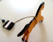 Whiskey----------Ceramic Miniature -----Horse on String--Chrsitmas gift--home decor----Gift under 50 USD