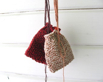 knitting bag-----a small bag for jewelry---- Cozy in Light brown and white -----red