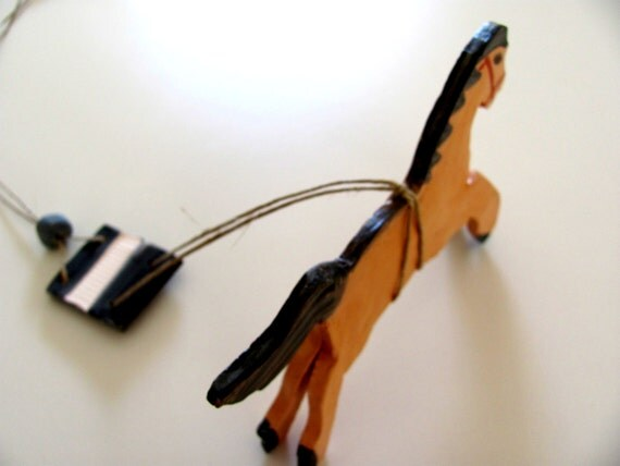 Whiskey----------Ceramic Miniature -----Horse on String--Chrsitmas gift--home decor----Gift under 50 USD