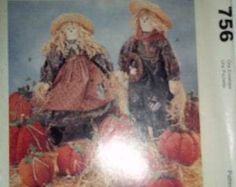 "Scarecrows, Pumpkins, McCalls 756 Sewing Pattern 21"" doll scarecrow figure pumpkin pattern Halloween figures porch decorations center"