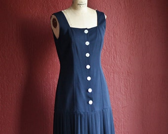 Vintage 1980's Nautical Navy Blue Drop Waist Sleeveless Summer Mini Dress With White Anchor Buttons And Pleats - By Chetta B -  Size 6