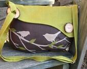 Bird Tote, Handbag, Handmade Messenger, Vegan Purse, Ecofriendly Bag