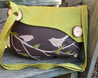 Bird Tote, Handbag, Handmade Messenger, Vegan Purse, Ecofriendly Bag