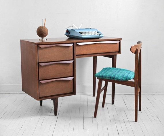 Items similar to sale mid century wood office desk - Retro office desk ...