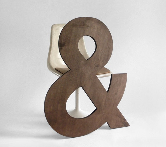 Items similar to wood ampersand letter wall hanging for Ampersand decoration etsy