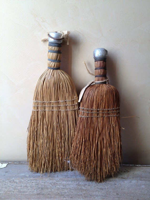 Pair of Vintage Straw Wisk Hand Broom Brushes