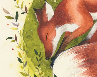 The Sleepy Fox - 12x16 Animal watercolor collection