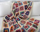 MADE TO ORDER Handmade Crochet 100 % Cotton Children single bed blanket  / afghan granny squares 52 by 70 inch