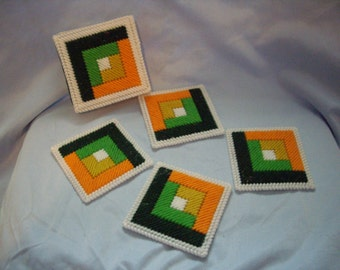 SALE-log cabin coasters with holder