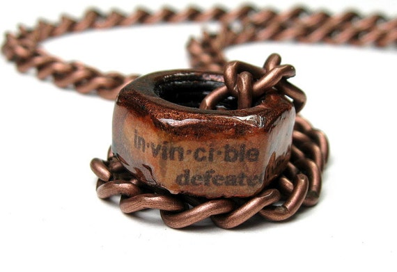 Invincible, Copper Hex Nut Necklace, Metal Jewelry, Steampunk, Punk Rock, Gifts for Men, Father's Day, For Dudes, For Dads