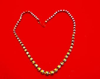 "Vintage 14.5"" silver tone aurora borealis rhinestone necklace, stones are sparkly and great"