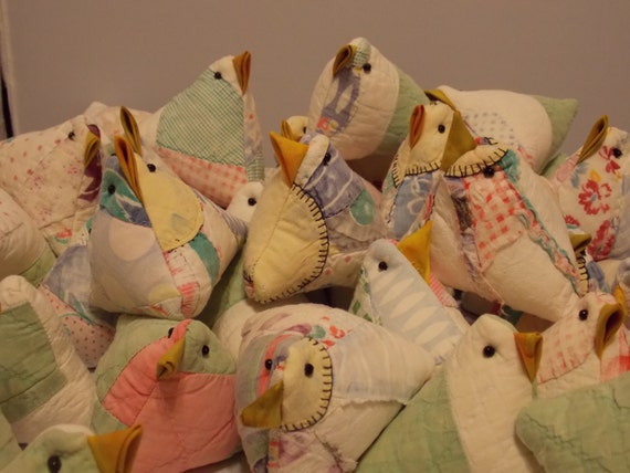 Upcycled Old Quilt Chick Pincushion or Basket Filler.  Recycled.  Repurposed. Made from Old Quilt.