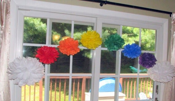 Rainbow pom pom kit baby shower first birthday party decoration