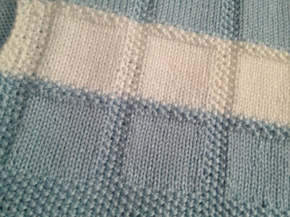 Free Knitting Pattern For Moss Stitch Baby Blanket : Hand Knit Baby Blanket in Stockinette & Seed Stitch Pattern