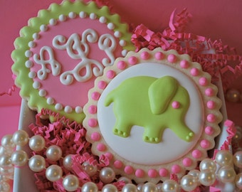 Preppy Script Monogram and Elephant Decorated Sugar Cookies (12)