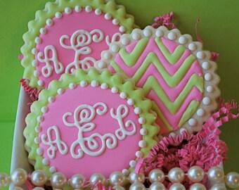 Preppy Script Monogram and Chevron Decorated Sugar Cookies (12)