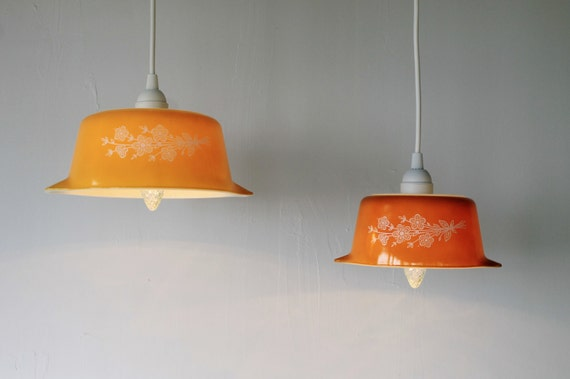 Butterfly Gold Pyrex Bowl Pendant Lights Upcycled Ooak