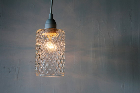 Clear Glass Lamp Shade: DIAMONDS - Upcycled Hanging Pendant Lamp featuring a Vintage Quilted Clear  Glass Lamp Shade - BootsNGus,Lighting