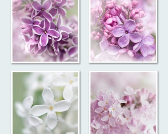 Lilac Photography Set II - Four Floral Photographs, Purple, Pink, White Blossoms, Romantic Wall Decor