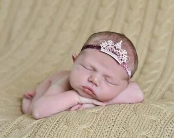 PRINCESS and the PEA Pink Glitter Crown Shabby Chic Elegant Rosette Flower Rhinestone Tiara Headband
