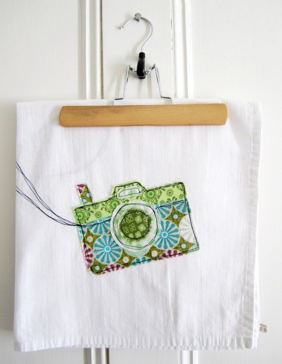 Appliqued Tea Towel - Camera 100% Cotton
