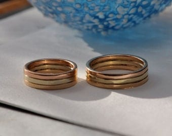 14K Tri-Color Gold Wedding Band, Handmade in Maine