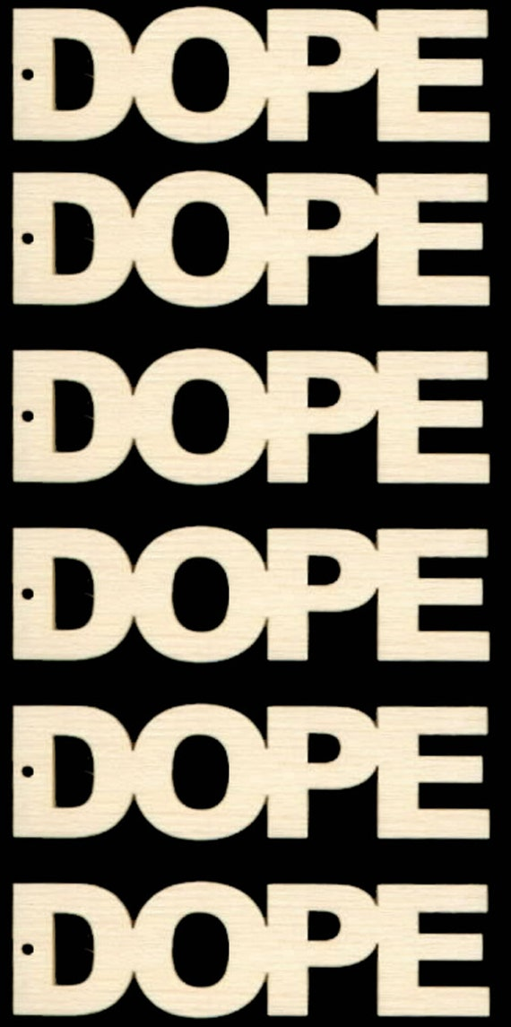 Dope Word Connected Letters Natural Craft Wood Cutout 601