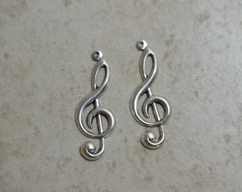 Treble Clef charm (2)  Sterling plated Made in the USA  Music Theme Item 34mm long1203
