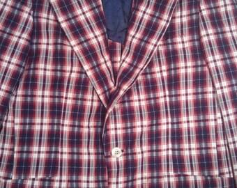 Men's plaid tartan 60s seersucker suitcoat smoking jacket 39 regular  punk Mad Men playboy
