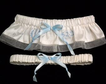 Monogrammed Silk Garter Set, Personalized Garter Set, Brides Garter Set, Something Blue for Bride, jfyBride