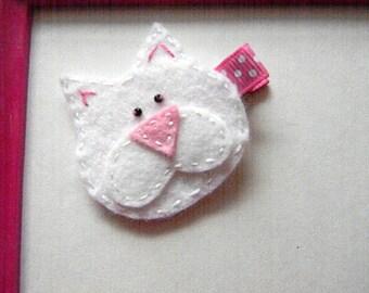 Cat hair clip - Kitty cat felt Hair Clip - Cat Barrette