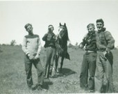 1940s Buddies Posing With Horse Young Men Drinking Riding Farm Vintage Photo Snapshot Black White Photograph