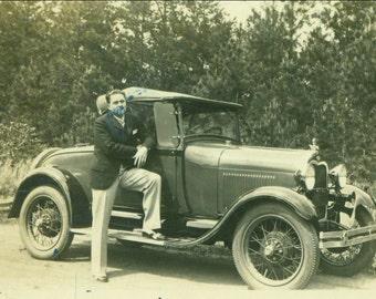 Chase City VA Man Posing On His Car Dirt Road 20s 30s Auto Driver Antique Vintage Sepia Photo Photograph