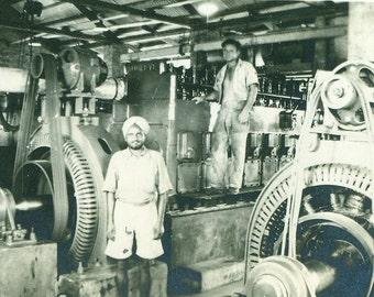 Calcutta India Work Men in Turbine Generator Machine Shop Factory WW2 Era Black White Vintage Photo Photograph