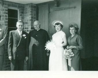 1940s Wedding Day Bride Simple White Mandarin Collar Dress Hat Flowers   Vintage Photo Black and White Photograph