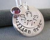 Personalized Necklace - Hand Stamped Mommy Necklace - Sterling Silver Jewelry - Baby Info Name and Date