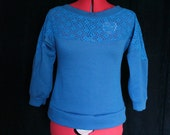 Custom Blue Lace Yoke Dolman Top for theromanamputee