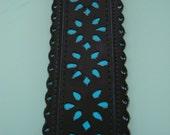 Vintage Black and Aqua Glossy Cutout Thick Belt- Small Medium