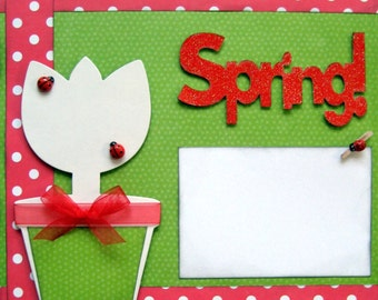 Scrapbook Kit 2 Page Premade Spring  Lady Bug Scrapbook Pages Layout