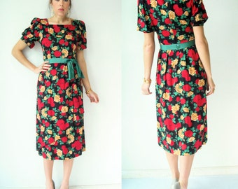 40's Style 80's Vintage Lanz Floral Print Dress / Puff Sleeves / Rayon / Waist Belt with Bow