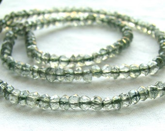 Green Mystic Quartz Faceted Rondelles, 13.5 inches (12k13)
