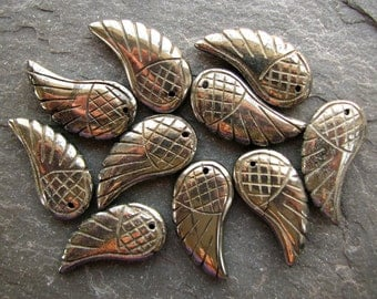 Natural Golden Pyrite Carved Wings PAIR, 2 beads 29mm bead (1ep10)