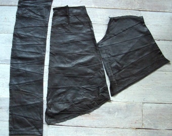 Leather Pieces, Dark Brown, Patchwork, 3 Large Pieces, Vintage Hide Remnants, Soft & Workable, Suede, Animal Skin Supplies, Free Shipping