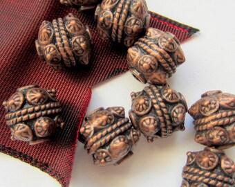 10 Tibetan style Beads antique copper ethnic boho chic 10mm Rlf0749_(W6)